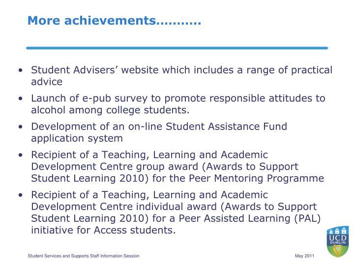 More achievements………..