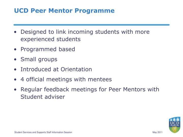 UCD Peer Mentor Programme