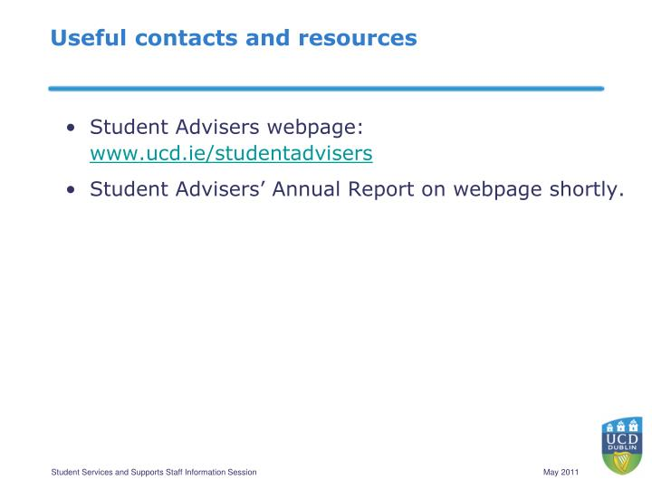 Useful contacts and resources