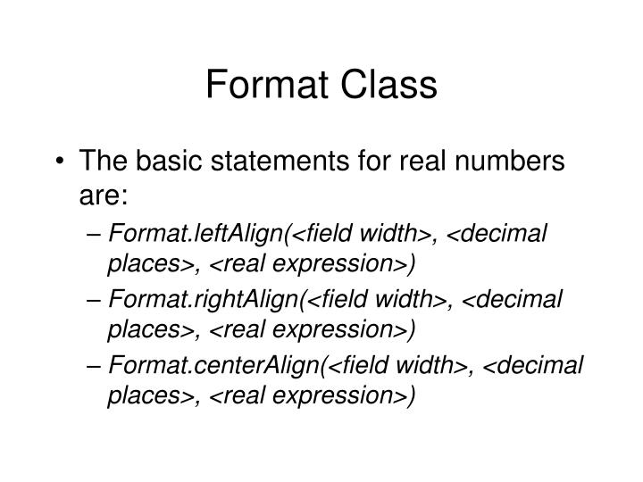 Format Class