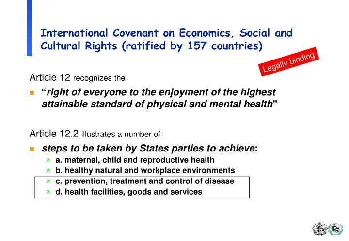 International Covenant on Economics, Social and Cultural Rights (ratified by 157 countries)
