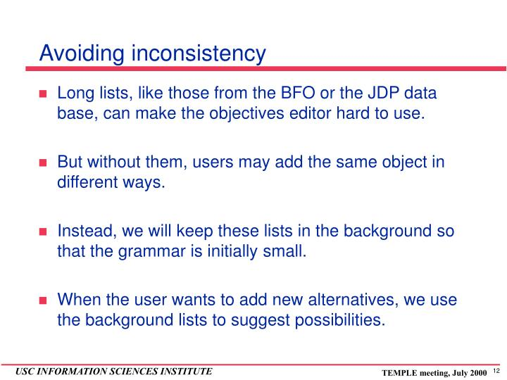Avoiding inconsistency