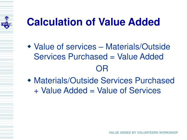 Calculation of Value Added