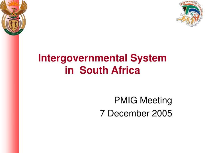 intergovernmental system in south africa n.