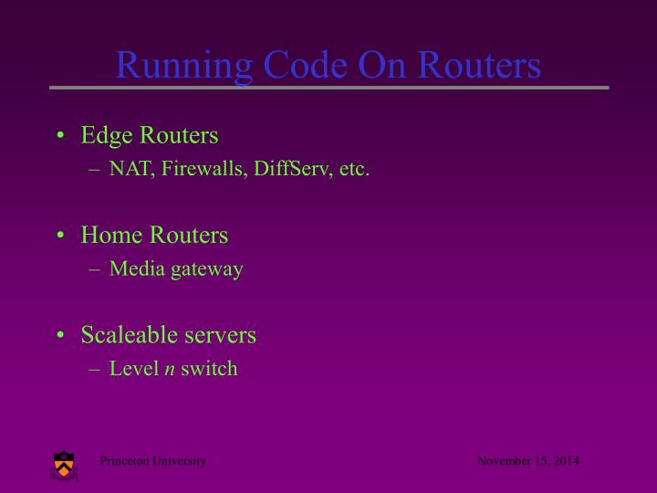 Running code on routers