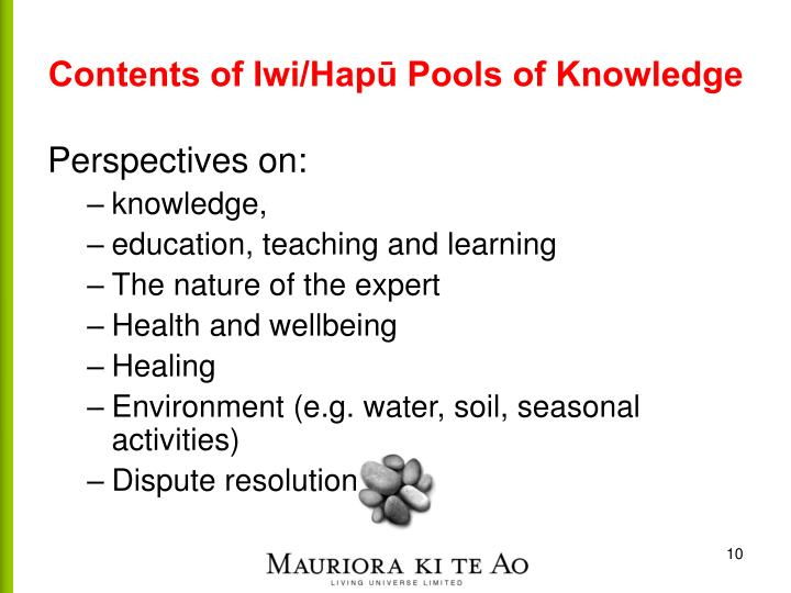 Contents of Iwi/Hapū Pools of Knowledge