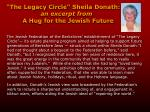 the legacy circle sheila donath an excerpt from a hug for the jewish future