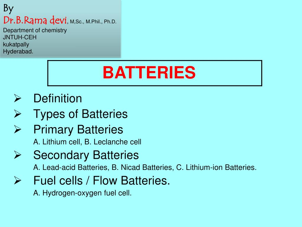ppt - definition types of batteries primary batteries a. lithium