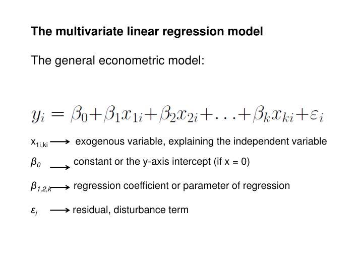 The multivariate linear regression model