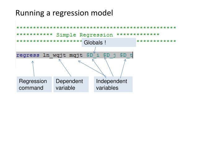 Running a regression model