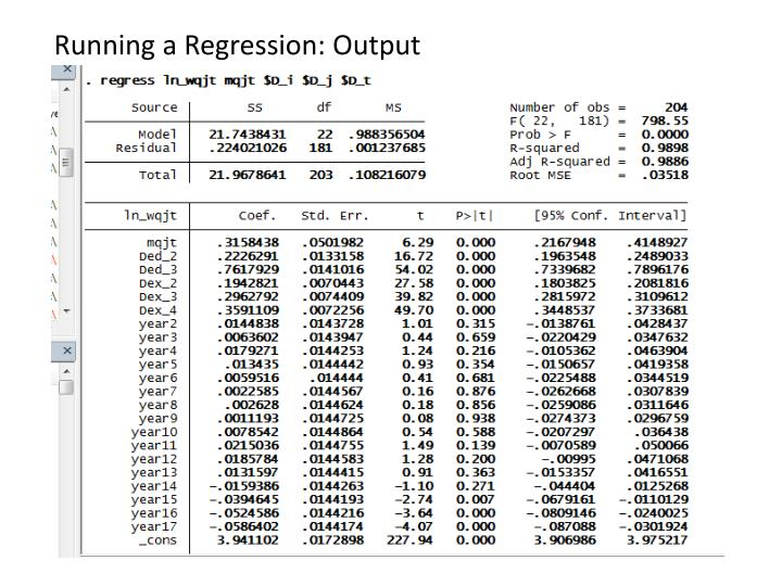 Running a Regression: Output