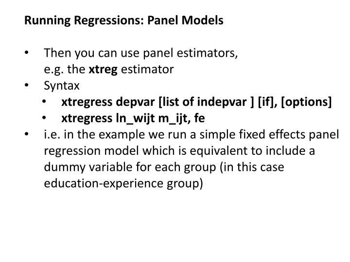Running Regressions: Panel Models