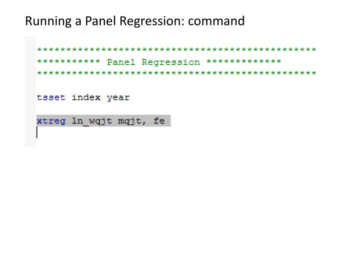 Running a Panel Regression: command