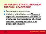 increasing ethical behavior through leadership
