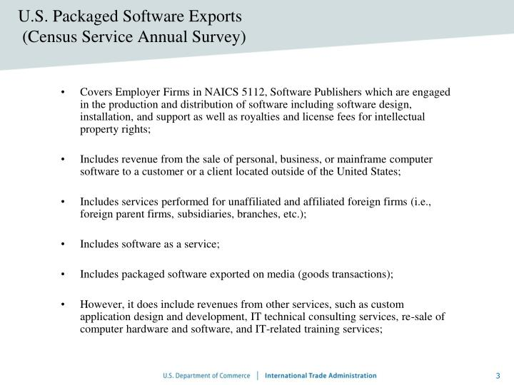 U s packaged software exports census service annual survey