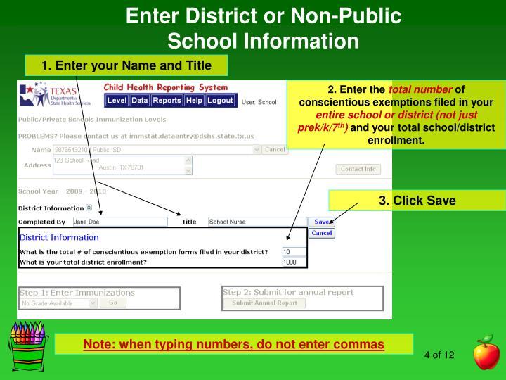 Enter District or Non-Public School Information
