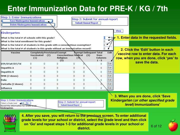 Enter Immunization Data for PRE-K / KG / 7th