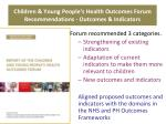children young people s health outcomes forum recommendations outcomes indicators