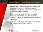 standardization team recommendations