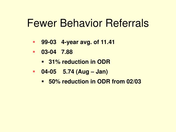 Fewer Behavior Referrals