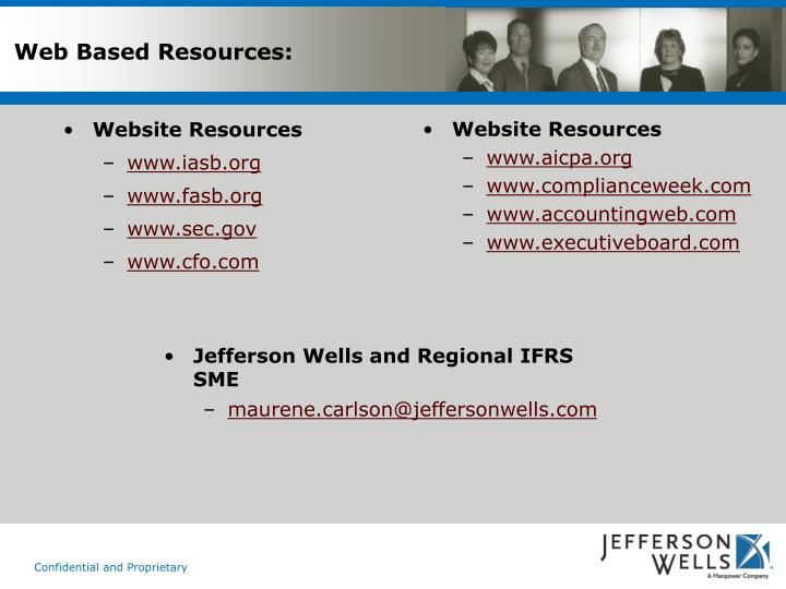 Web Based Resources: