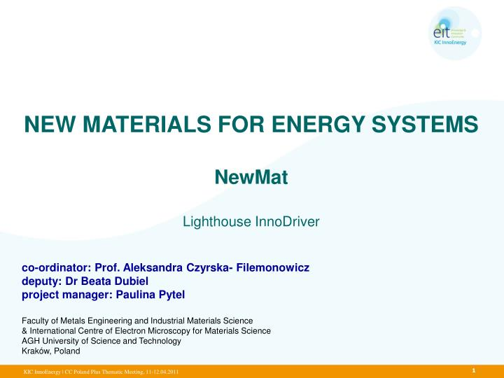 NEW MATERIALS FOR ENERGY SYSTEMS
