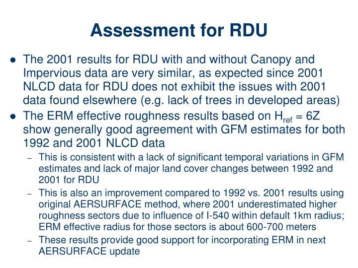 Assessment for RDU