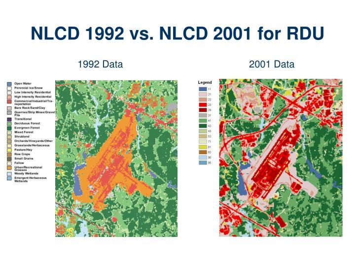 NLCD 1992 vs. NLCD 2001 for RDU