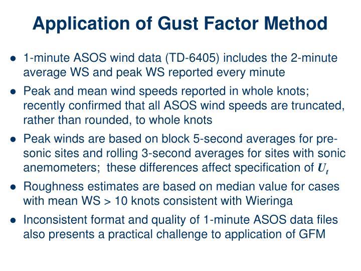 Application of Gust Factor Method