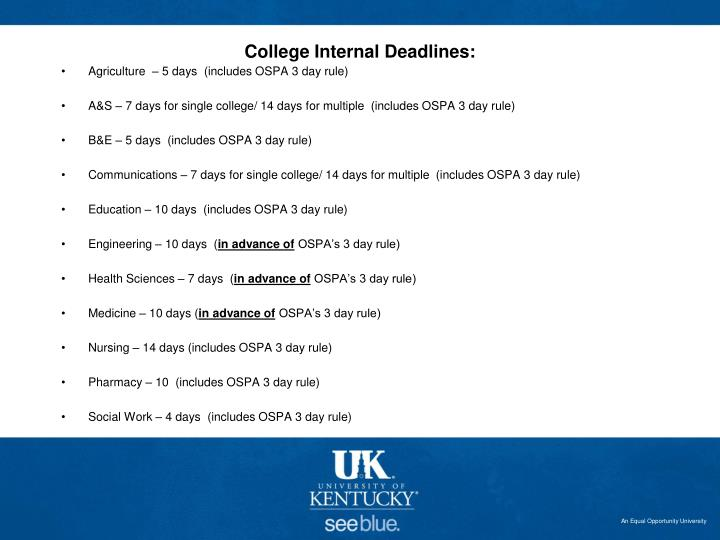 College Internal Deadlines: