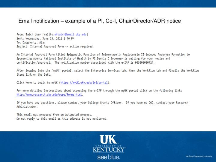 Email notification – example of a PI, Co-I, Chair/Director/ADR notice