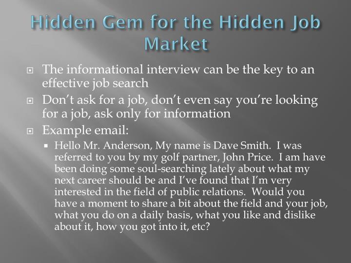Hidden Gem for the Hidden Job Market