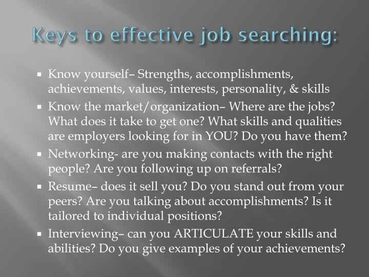 Keys to effective job searching: