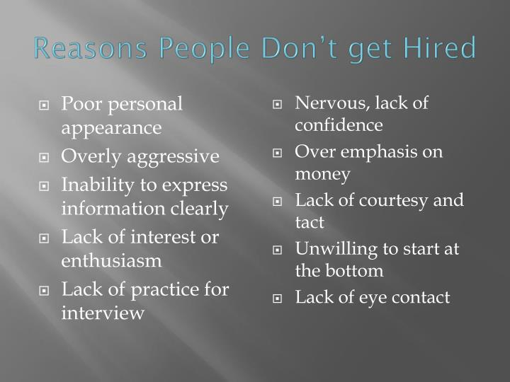 Reasons People Don't get Hired