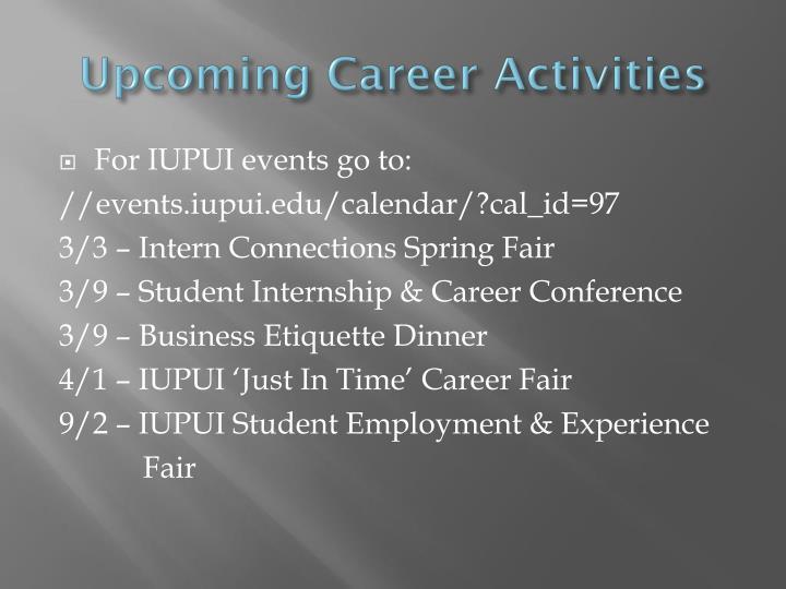 Upcoming Career Activities