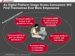 as digital platform usage grows consumers will find themselves ever more empowered
