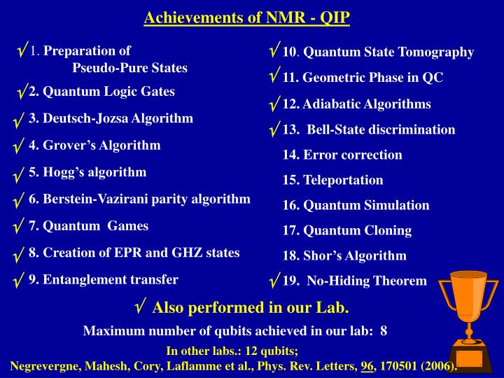 Achievements of NMR - QIP
