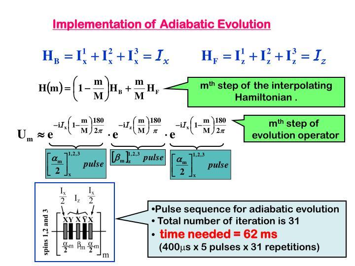 Implementation of Adiabatic Evolution