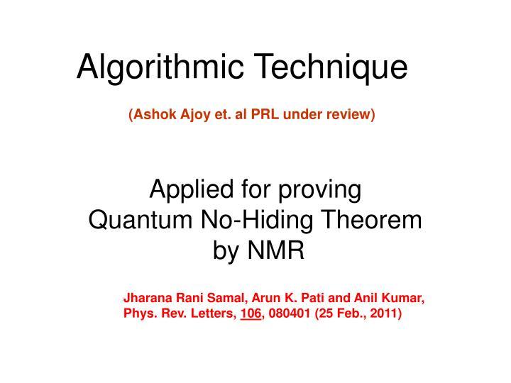 Algorithmic Technique