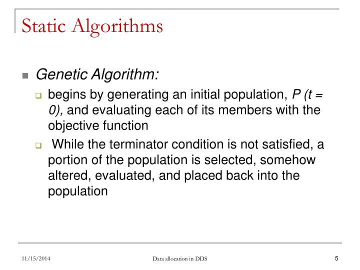 Static Algorithms