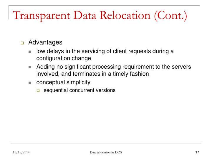 Transparent Data Relocation (Cont.)