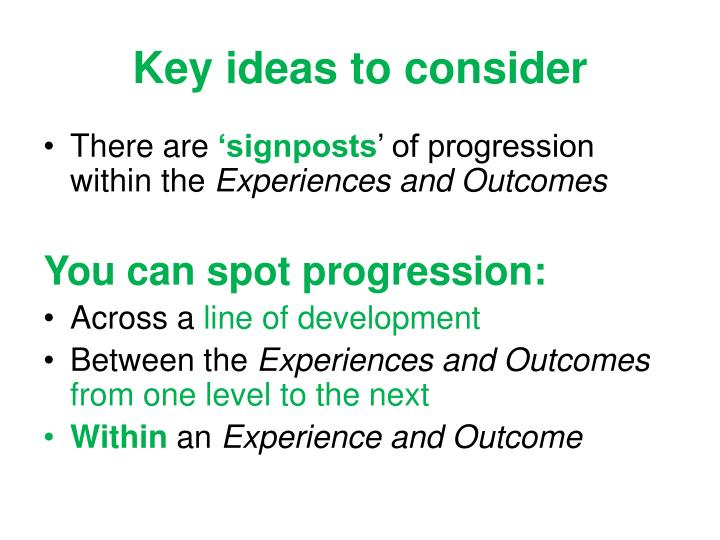 Key ideas to consider