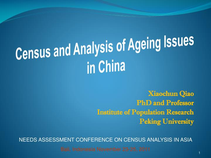xiaochun qiao phd and professor institute of population research peking university n.