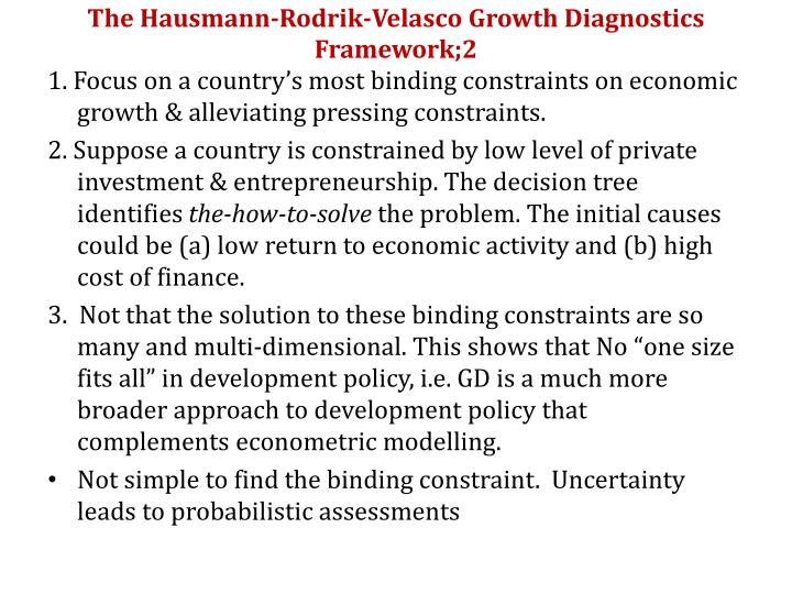 The hausmann rodrik velasco growth diagnostics framework 2