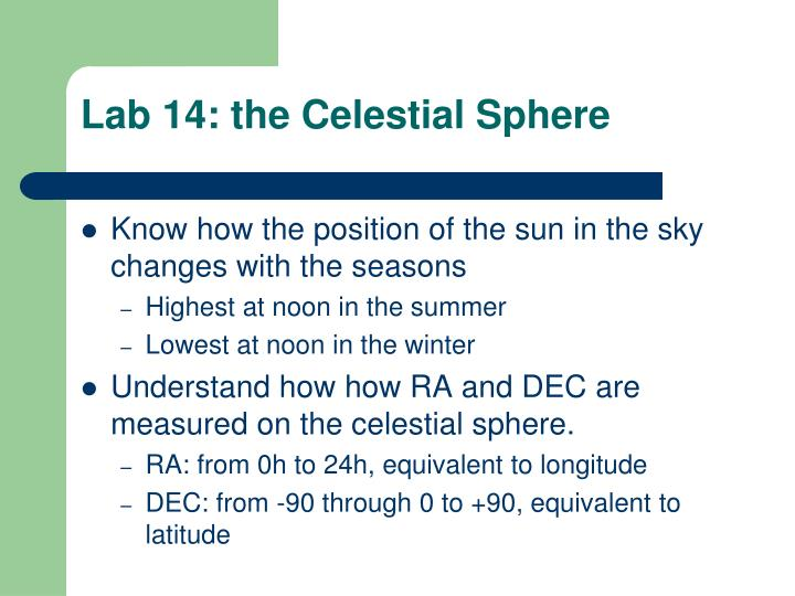 Lab 14: the Celestial Sphere