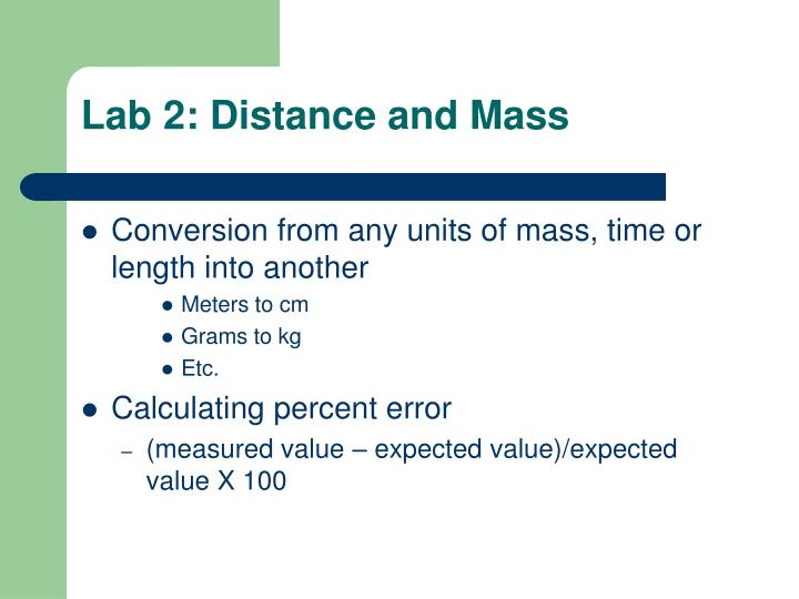 Lab 2 distance and mass