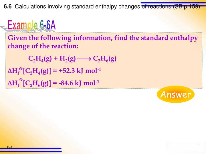 Given the following information, find the standard enthalpy change of the reaction: