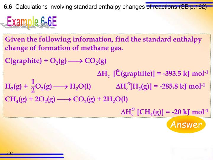 Given the following information, find the standard enthalpy change of formation of methane gas.