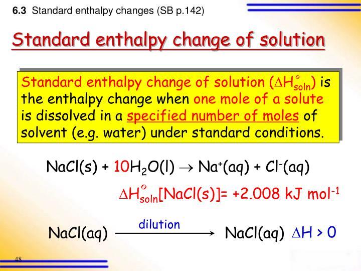 Standard enthalpy change of solution (