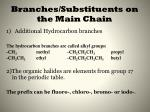branches substituents on the main chain